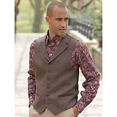 Men's Vintage Inspired Vests 100 Wool Six-Button Notch Lapel Herringbone Vest $40.00 AT vintagedancer.com