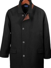 Wool Blend Suede Trim Car Coat