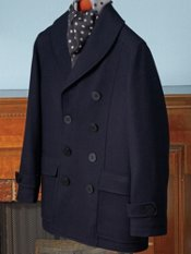Wool Blend Double-Breasted Shawl Collar Pea Coat