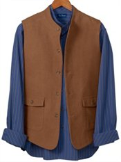 100% Cotton Moleskin Banded Collar Vest