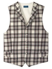 100% Wool Tartan Plaid Notch Lapel Vest