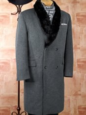 Wool Blend Double Breasted Shawl Pile Collar Topcoat