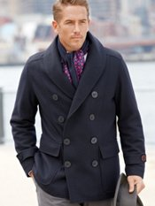 Wool Blend Double Breasted Shawl Collar Pea Coat