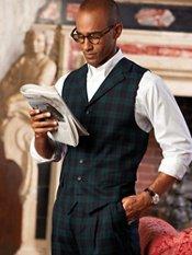 Wool Tartan Plaid Six-button Vest, Notch Lapel