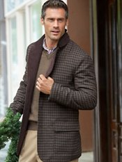 100% Wool Check Button Front Stand Collar Jacket