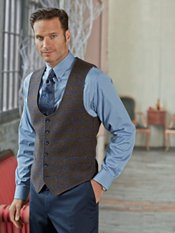 100% Wool Six-Button Scoop Neck Windowpane Vest