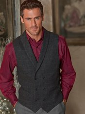 100% Wool Double Breasted Shawl Collar Herringbone Vest