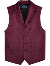 Velvet Five-Button Shawl Collar Paisley Vest