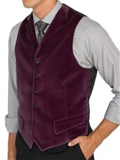 100% Cotton Velvet Six-Button Notch Lapel Vest