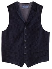 100% Cotton Velvet Six-Button Notch Lapel Pindot Vest