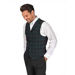 100 Wool Six-Button Notch Lapel Tartan Plaid Vest $100.00 AT vintagedancer.com