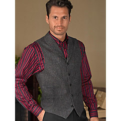 100 Wool Five-Button Shawl Collar Donegal Vest $110.00 AT vintagedancer.com