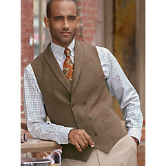 100 Wool Double Breasted Shawl Collar Donegal Vest $110.00 AT vintagedancer.com