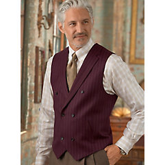 100 Wool Double Breasted Notch Lapel Stripe Vest $130.00 AT vintagedancer.com