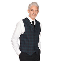 1900s Edwardian Men's Suits and Coats 100 Wool Six-button Notch Lapel Tartan Vest $45.00 AT vintagedancer.com