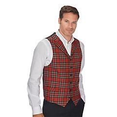 Men's Vintage Inspired Vests 100 Wool Six-button Notch Lapel Tartan Vest $100.00 AT vintagedancer.com