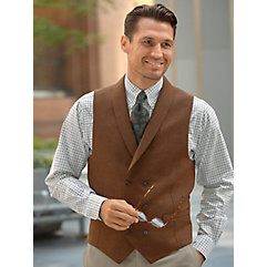 Men's Vintage Inspired Vests 100 Wool Double-breasted Shawl Collar Vest $80.00 AT vintagedancer.com