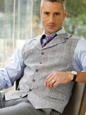 100% Linen Plaid Six-Button Vest