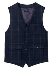 100% Wool Flannel Windowpane Vest