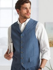 100% Linen Six-Button Notch Lapel Stripe Vest