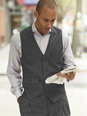 100% Wool Flannel Stripe Vest