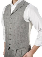 100% Linen Six-Button Notch Lapel Plaid Vest