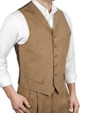 100% Linen Six-Button Notch Lapel Houndstooth Vest