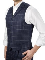 100% Linen Six-Button Notch Lapel Windowpane Vest