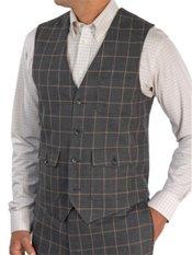100% Wool Flannel Windowpane Vest