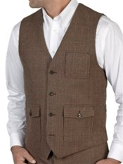 100% Wool Flannel Glen Plaid Vest