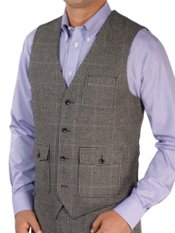 100% Wool Flannel Houndstooth Vest