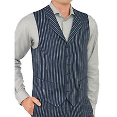 100 Linen Six-Button Notch Lapel Stripe Vest $35.00 AT vintagedancer.com