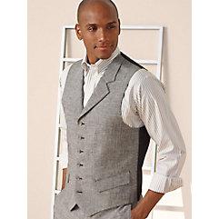 100% Linen Six-Button Notch Lapel Houndstooth Vest
