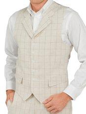 100% Linen Six-Button Notch Lapel Windowpane Vest