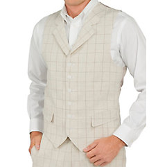 100 Linen Six-Button Notch Lapel Windowpane Vest $35.00 AT vintagedancer.com