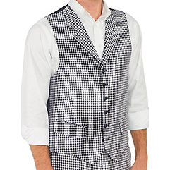 100 Linen Six-Button Notch Lapel Check Vest $45.00 AT vintagedancer.com
