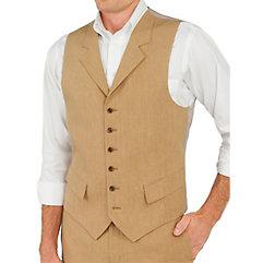 100% Linen Six-Button Notch Lapel Vest