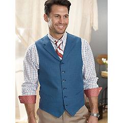 100 Cotton Six-Button Notch Lapel Check Vest $110.00 AT vintagedancer.com