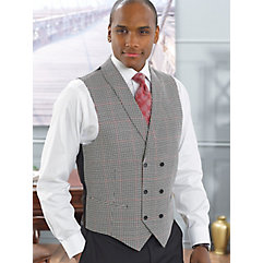 Wool And Silk Double Breasted Shawl Collar Houndstooth Vest $130.00 AT vintagedancer.com