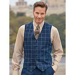 1920s Style Mens Vests Dark Indigo Linen Windowpane Vest $46.00 AT vintagedancer.com