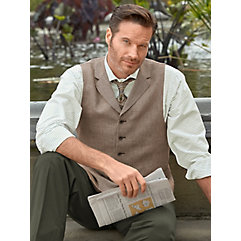 Steampunk Clothing- Men's Dark Brown Linen Houndstooth Vest $80.00 AT vintagedancer.com