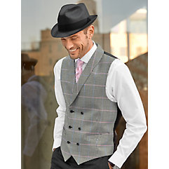 Men's Vintage Inspired Vests Black  White Wool and Silk Houndstooth Double Breasted Vest $130.00 AT vintagedancer.com