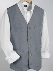 100% Cotton Chambray Solid Vest