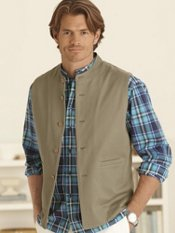 100% Cotton 5-Button Banded Collar Vest