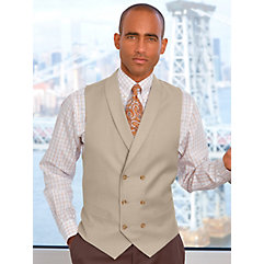 Super 120s Pure Wool Double Breasted Shawl Collar Herringbone Vest $120.00 AT vintagedancer.com