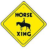 Horse X-Ing Diamond Shaped Sign
