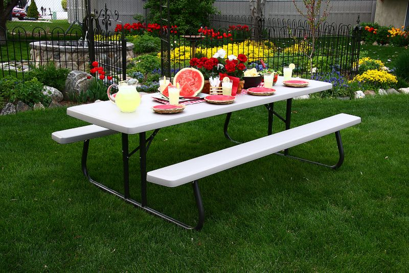 8 Ft Commercial Foldable Picnic Table Single