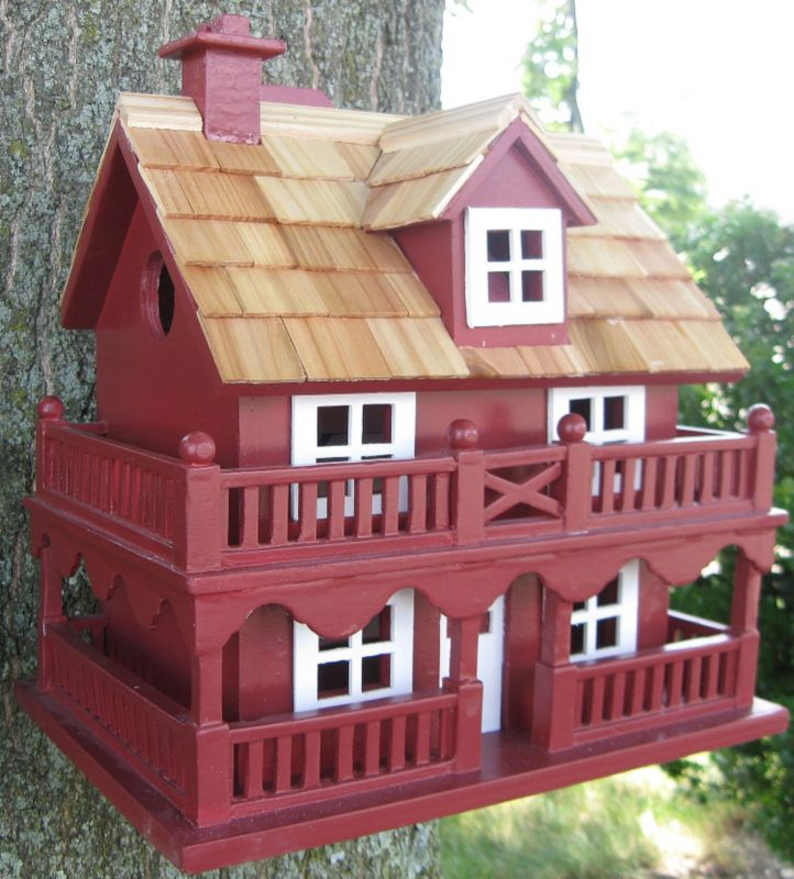 Novelty Cottage Birdhouse Red