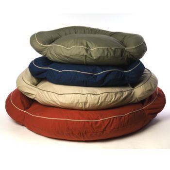 Classic Round Twill Bolster Dog Bed Sage