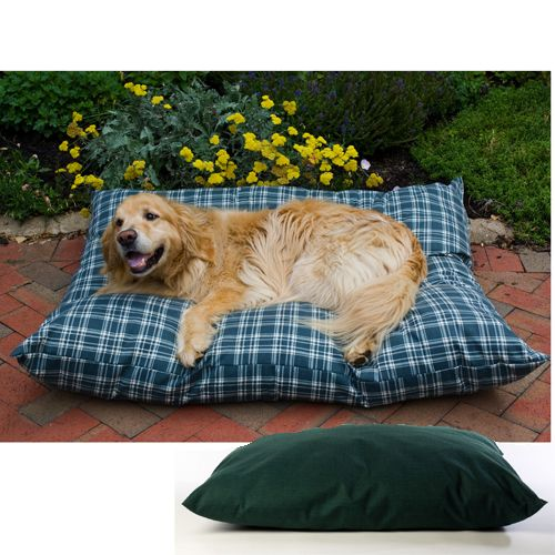 Shebang Outdoor Dog Bed Medium Green Plaid